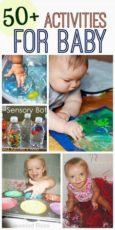 Play for Babies What can baby do? Here are over 50 fun activities perfect for young babies (and toddlers too!)What can baby do? Here are over 50 fun activities perfect for young babies (and toddlers too! Toddler Play, Baby Play, Children Play, Toddler Stuff, Infant Activities, Activities For Kids, 9 Month Old Baby Activities, Creative Activities, Motor Activities