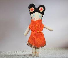 Soft Doll Toy Fabric Orange Dress Cloth Doll Toy Stuffed Doll for Girl by The Dolls
