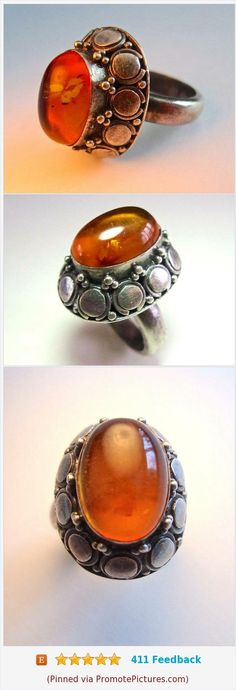 Honey Amber High Dome 925 Sterling Silver Ring, Vintage sz 6 https://www.etsy.com/renaissancefair/listing/558024683/honey-amber-high-dome-925-sterling?ref=listings_manager_grid  (Pinned using https://PromotePictures.com)