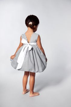 Flower Girls Dress in Grey and White Stripes by VesperClothier