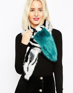 Image 1 of ASOS Faux Fur Camo Scarf With Raccoon Tail