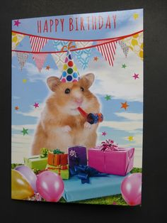Various Cute Female / Juvenile Girl Birthday Cards Teddy With Bouquet - Card 1 for sale online Happy Birthday Animals, Animal Birthday, Happy Birthday Wishes, Birthday Cards, Funny Hamsters, Todays Birthday, Game Themes, Vintage Type, Funny Cards