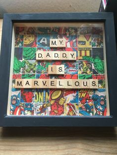 Hand crafted frame, ideal for Fathers Day or birthdays. My Daddy is Marvellous - can be customised to say anything (as long as I can fit it in!) If ordered before 6pm it will be sent out the next day by first class post. Last orders for Fathers Day is Wednesday 15th June at 6pm. Dimensions (inside) 20cm x 20cm.     Please note: This is not official merchandise and is not related to or associated with Marvel or Disney, and is copyrighted and trademarked to the respective company.
