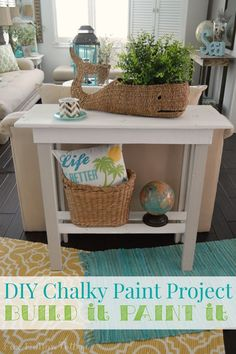 DIY Pallet Wood Console Table  Makeover with @decoart Chalky Paint #AmericanaDecor #ad #paintedfurniture