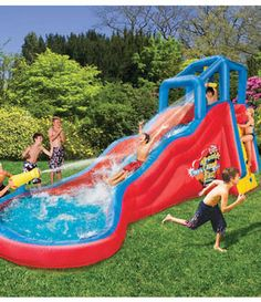 Have a blast and make a total splash with the Banzai Double Cannon Blast Inflatable Water Slide