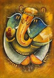 Ganesha with Golden Dots - Handpainted Art Painting - 24in X 36in