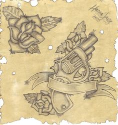 The snub nose revolver for my next tattoo. not sure about that banner and the roses though, but something like that <3