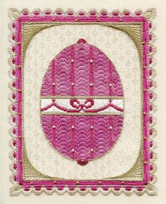 Laura J Perin's Sampler Collection series includes this Imperial Egg I, counted needlepoint design using Kreinik Braid. Needlepoint Stitches, Needlepoint Patterns, Needlework, Easter Cross, Egg And I, Egg Art, Card Making, Cross Stitch, Tapestry