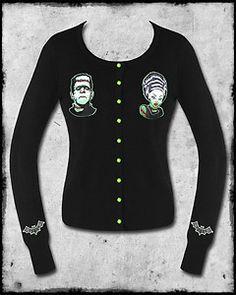 BANNED BLACK GREEN BRIDE OF FRANKENSTEIN GOTH HORROR PUNK ROCKABILLY CARDIGAN   eBay