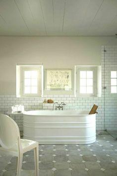 White Subway Tiles with Grey and White Flooring Rustic Bathtub  Aston Marble & Granite- Corpus Christi, TX