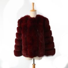 wine red color New style Wholesale price Fox Fur coat