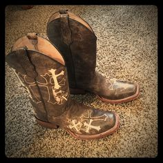 Brown cowgirl boots. Brown cowgirl boots. Only been worn 1 time. GREAT condition. Decal crosses on sides and top of foot. As shown in the picture. Size 8. No trades. No holds. Fast shipping. Shoes