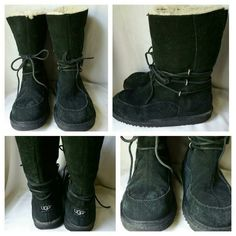 UGG Black Suede Lace Up Boots Size 5 UGG Black Suede Boots Size 5. Sign of  slight wear shown in picture collage. Leather laces. NO OFFERS, PRICED TO SELL! UGG Shoes Lace Up Boots