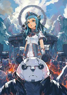 Anime Artworks by Gilang Andrian   InspireFirst via PinCG.com Pandas AND robots AND anime