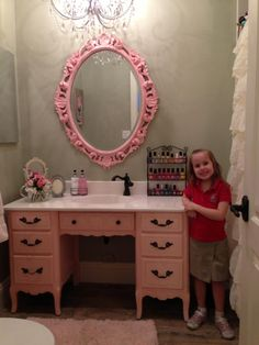 Pink Desk turned vanity/sink