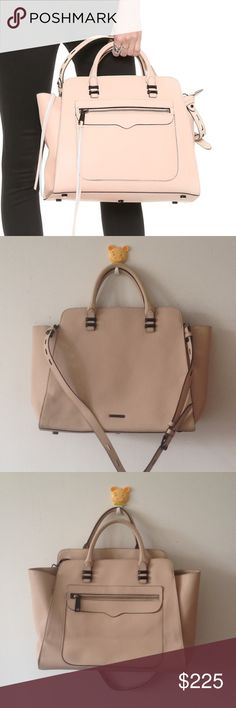 Rebecca Minkoff Large Avery Satchel Tote Bag Beautiful authentic Rebecca Minkoff bag in a lovely peach shade. Detachable long strap. Bag measures about 14 x 11.5 x 6. Zips missing tassels. No trades! Rebecca Minkoff Bags Satchels