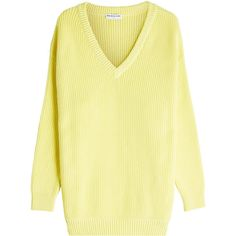 Balenciaga Ribbed Cotton Pullover (24,410 MXN) ❤ liked on Polyvore featuring tops, sweaters, yellow, v-neck pullover, yellow pullover, yellow sweater, layered sweater and yellow v neck sweater