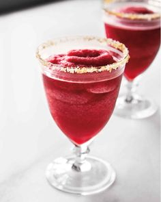 Freeze the juice in ice-cube trays and blend up frosty drinks in seconds. The salt-and-sugar-coated glass rims make a surprising touch.