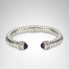 Charles Krypell Diamond and Amethyst Bracelet in Sterling Silver and 14K Gold (1/2 carat t.w.)