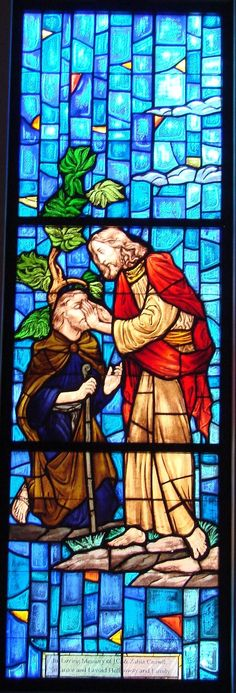 Jesus depicting performing one of His many miracles. Here is is healing the blind man. Stained Glass Church, Stained Glass Art, Stained Glass Windows, Catholic Art, Religious Art, Tiffany Stained Glass, Church Windows, Stained Glass Designs, Leaded Glass