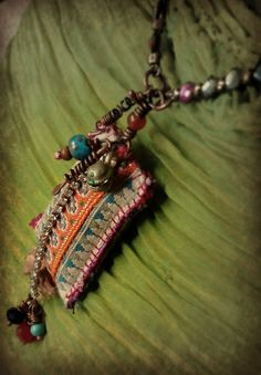Bohemian gypsy vintage textile and bead necklace by quisnam, $50.00