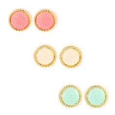 """<P>These pretty button studs sparkle like sweet rock candy. Includes faux druzy stones of pink, mint and ivory with gold rope trim.</P><UL><LI>1/2""""D <LI>Gold metal finish<LI>Clip on back</LI></UL>"""