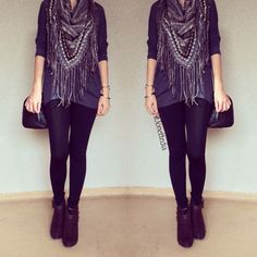 Fall outfit: sweater: scarf: booties