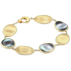 Marco Bicego Lunaria Black Mother-Of-Pearl & 18K Yellow Gold Bracelet ($1,860) ❤ liked on Polyvore featuring jewelry, bracelets, 18k gold jewellery, marco bicego jewelry, 18 karat gold jewelry, gold bangles and fine jewellery