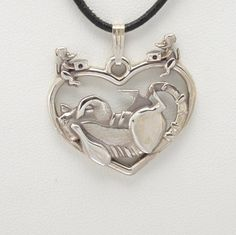 """Sterling Silver Tabby Cat Pendant w/18"""" Sterling Chain by Donna Pizarro fr her Animal Whimsey Collection of Fine Cat Jewelry by DonnaPizarroDesigns on Etsy"""