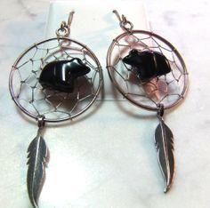 Native American Dream Catcher Bear Fetish Earrings by GTJewelry, $65.00