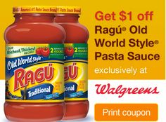 High Value $1/1 Ragu Old World Style Pasta Sauce Coupon - http://printgreatcoupons.com/2013/12/03/high-value-11-ragu-old-world-style-pasta-sauce-coupon/