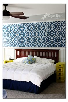 bed room wall stencil