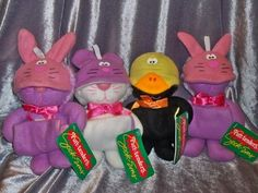 Vintage 1988 Purr-Tenders Sock-Ems Cat Burger King Plush Toys Lot Of 4 With Tag