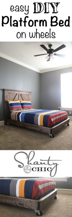 Super easy tutorial for this platform bed! LOVE the wheels!seine paint and pb teen comforter.