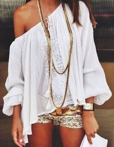Looks I LOVE! Stylish Long Sleeve Off-The-Shoulder Solid Color Women's Bohemian Style Peasant Blouse #White #Lace #Peasant #Blouse #Beach #Style #Fashion #Sexy #Boho #Chic #Outfit #Ideas
