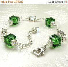 Leichte Smaragd-Grün-Kristall-Armband Swarovski von fineheart