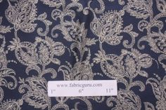 Floral Woven Upholstery Fabric in French Navy