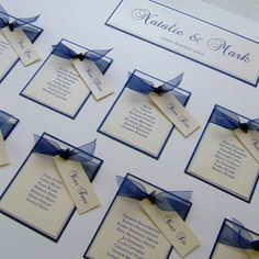 Based on our Alabama design, this wedding table plan is printed onto white or cream card and backed with your colour choice card. They are then finished with a sheer ribbon, tying a tag to each table (finished with a crystal). Mounted onto a mountboard that can be freestanding. We do not frame our table plans but they are a standard size of 500 mm by 700 mm. Shipped out as close to the wedding as possible to anticipate amendments - but book in early!  Table names/numbers, menus and place...