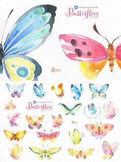 Butterflies Watercolor Set - https://www.designcuts.com/product/butterflies-watercolor-set/