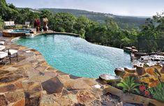 Infinity/Vanishing-Edge Pool Photos : infinity edge pool with rock waterfall and spa Infinity Pools, Infinity Pool Backyard, Infinity Edge Pool, Inground Pool Designs, Swimming Pool Designs, Blue Haven Pools, Pool Pool, Swimming Pool House, Pool Decks