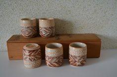 Set of five tea cups,  shigaraki ceramic ware, boxed by StyledinJapan on Etsy