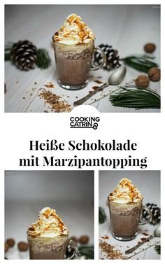Heiße Schokolade mit Marzipantopping, hot chocolate with marzipan topping, hot…
