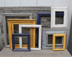 BEDROOM: Set of 8 Upcycled Picture Frames - Yellow, White, Grey, and Navy Blue Painted Frames - Distressed Scatter Frames - Nursery or Home Decor Decor, Blue Decor, Basement Decor, Picture Frames, Home Decor, Upcycled Picture Frames, Gray Bedroom, Yellow Bedroom, Blue Paint