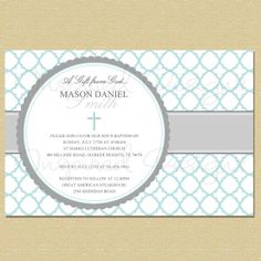 A Gift from God Blue Pattern Gray Baptism by InspiredDesigns22, $10.00