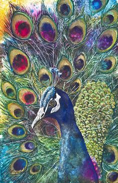 """""""Golden Peacock"""" - by Patricia Allingham Carlson   ~Mixed Media...LOVE the feathers and the colors"""
