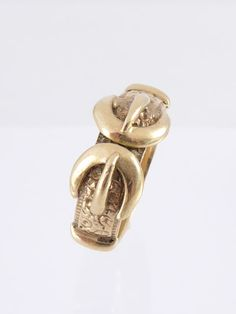 Vintage Estate 9ct 9K Yellow Gold Double Buckle Belt Ring Band   eBay