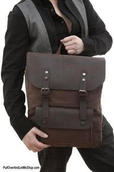 Canvas leather, Leather backpacks and Brown leather backpack on ...