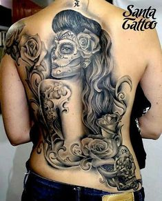 Full back sugar skull tattoo
