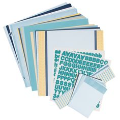 Blue Skies Designer Collection. This collection includes one package of each of the Blue Skies Designer products: Designer Cardstock, Solid Cardstock, Border Strips, Journal Cards, Refill Pages and Alphabet Stickers. Products may also be purchased separately.