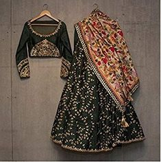 Shop latest Black Lehenga Designs for women from a wide range of Black Color Lehengas at Mirraw Online Store at best prices with worldwide fast shipping Indian Lehenga, Black Lehenga, Silk Lehenga, Silk Dupatta, Anarkali Lehenga, Sabyasachi, Ghagra Choli, Lehenga Choli Designs, Lehenga Choli Wedding